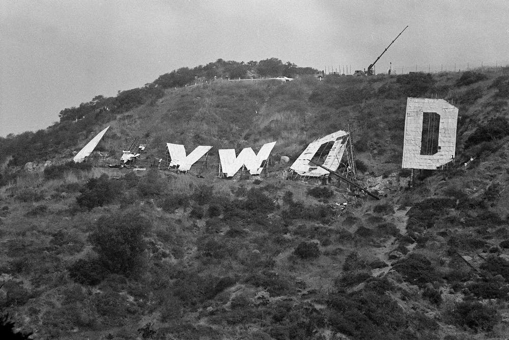 In This 1978 Photograph Workers Prepare To Lower The Last Letter Of Old Hollywood Sign That Had Stood At Site Since 1920s Wally Fong AP Photo