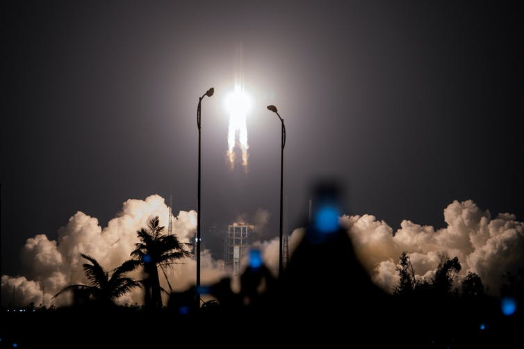 Who's rushing? The Chinese Long March 5 rocket lifts off.