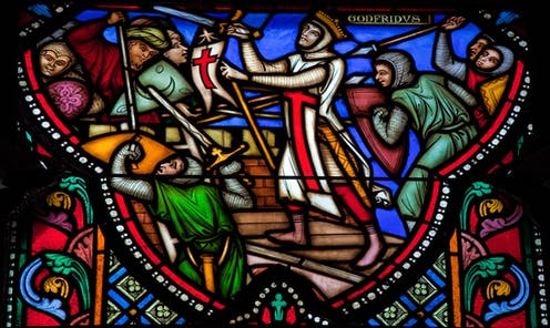 Stained glass window in Brussels cathedral depicting First Crusade commander Godfrey of Bouillon.