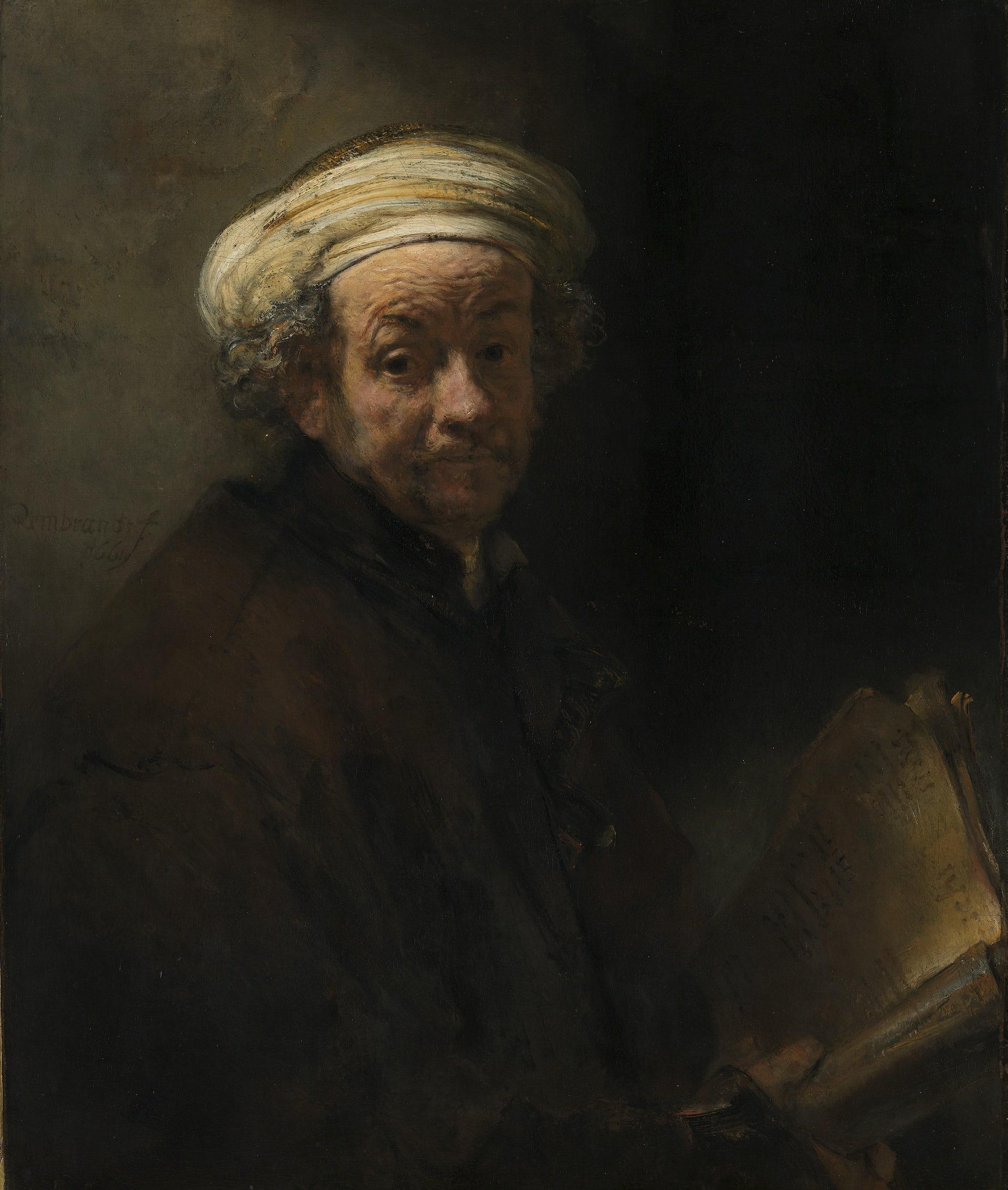 SELF PORTRAIT OF REMBRANDT MASTER DUTCH ARTIST PAINTING ART REAL CANVAS PRINT
