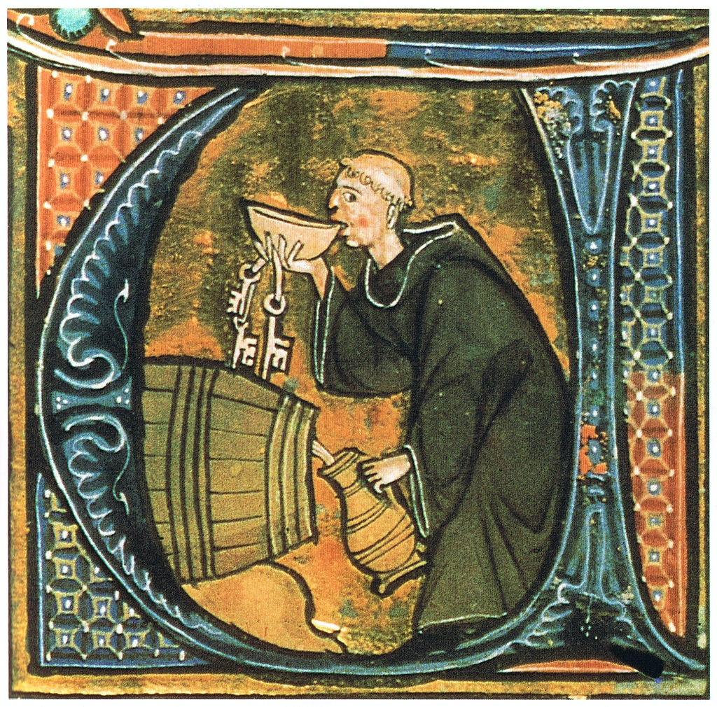 monk sneaking a drink monasteries liqueur beer wine