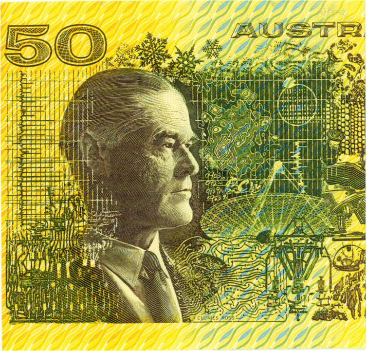 Australia's first $50 note featured the Parkes telescope and a pulsar. Credit: Author provided