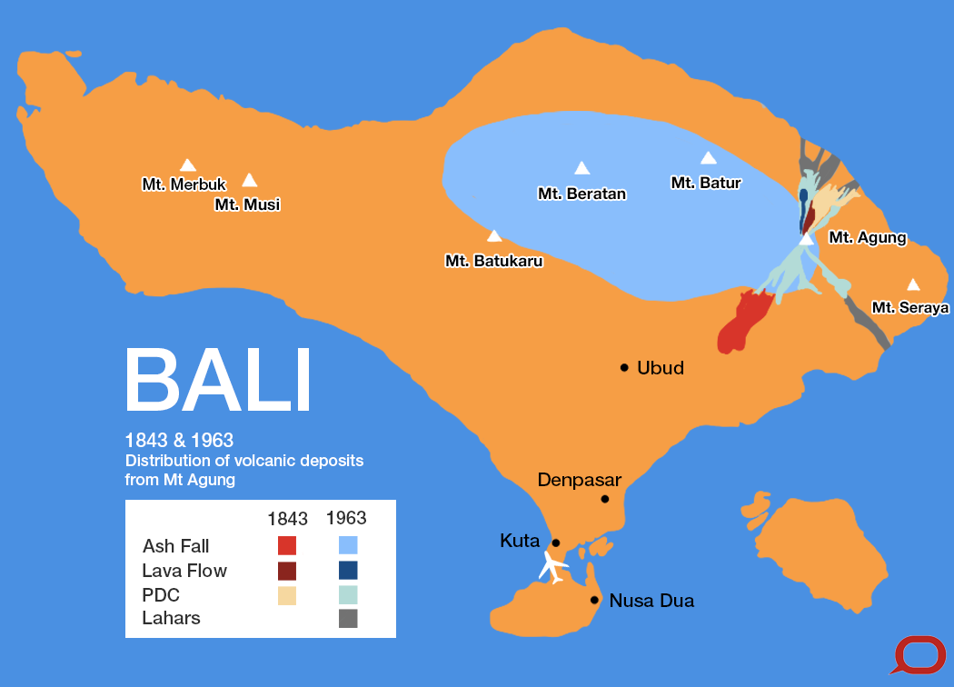 Bali's Mt Agung had significant eruptions in 1843 and 1963. PDC = pyroclastic density current, a flow of hot volcanic matter; lahar = a slurry of volcanic debris. Marcella Cheng for The Conversation, adapted from Figure 5 Fontijn et al 2015, CC BY-NC-ND