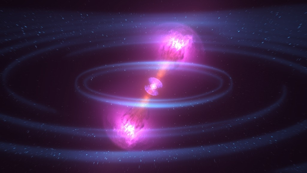 Artist's rendition of two merging neutron stars, another situation where fission occurs.