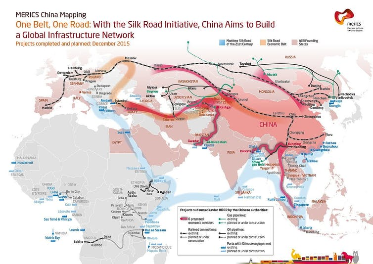 A partial representation of China's One Belt One Road scheme