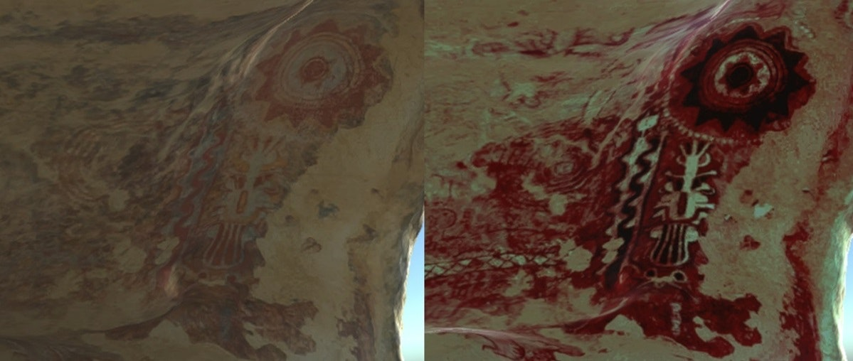 DStretch textures help reveal hidden detail in the cave artwork. Author provided