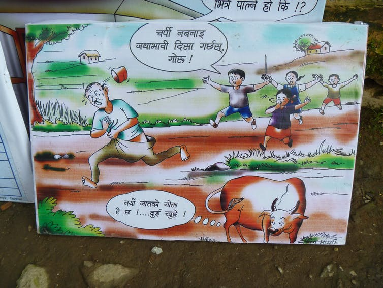 A banner in a Nepali village promoting safe sanitation, as open defecation is 'only for cows'. Author's own
