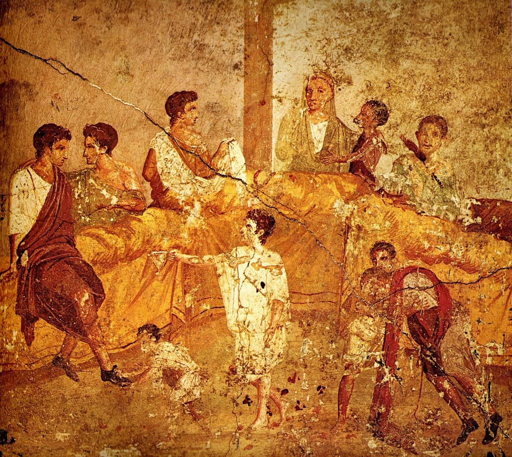 Pompeii family feast painting Naples