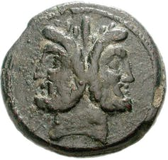Roman coin showing the two-headed Janus