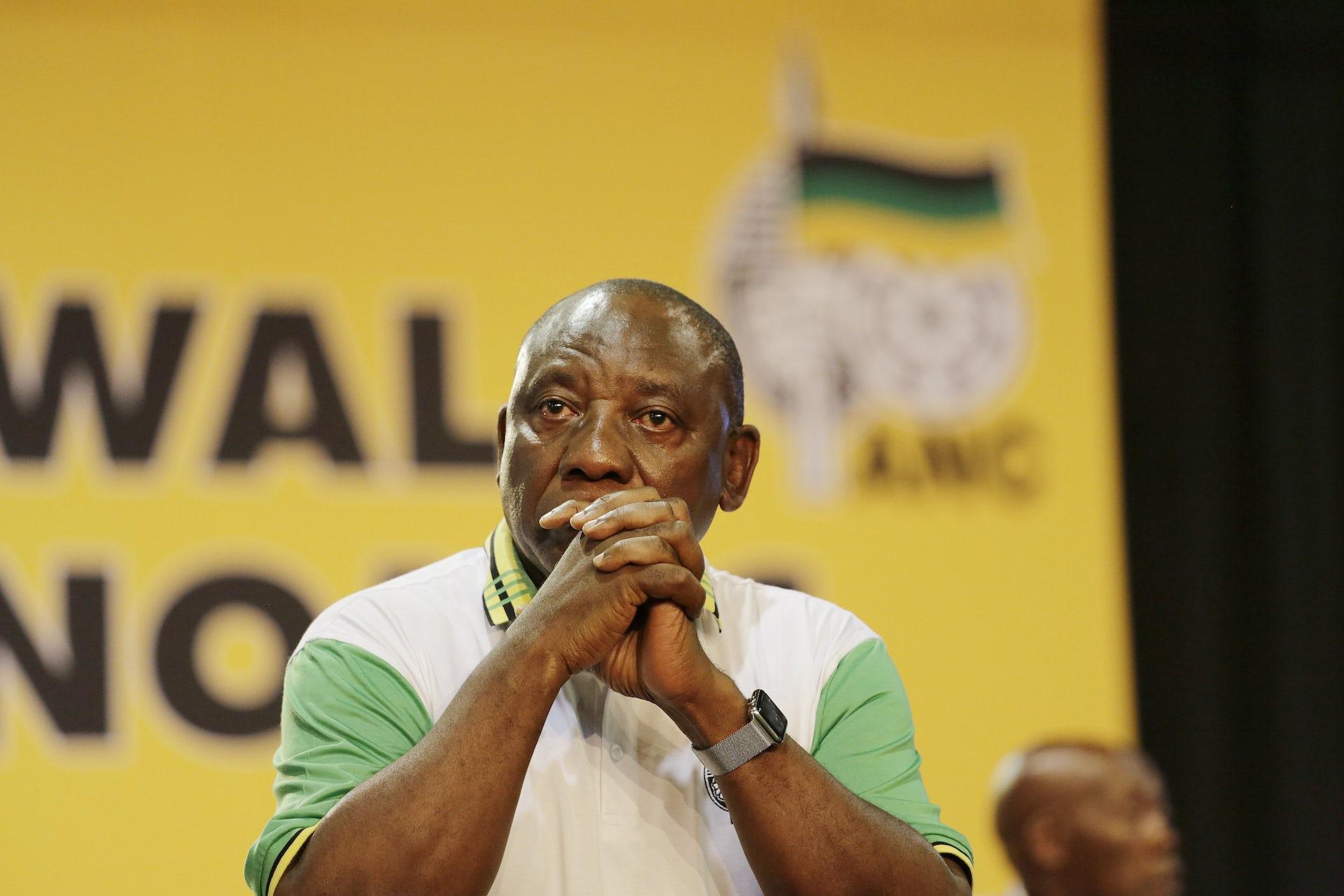 New ANC President Cyril Ramaphosa moments before winning.