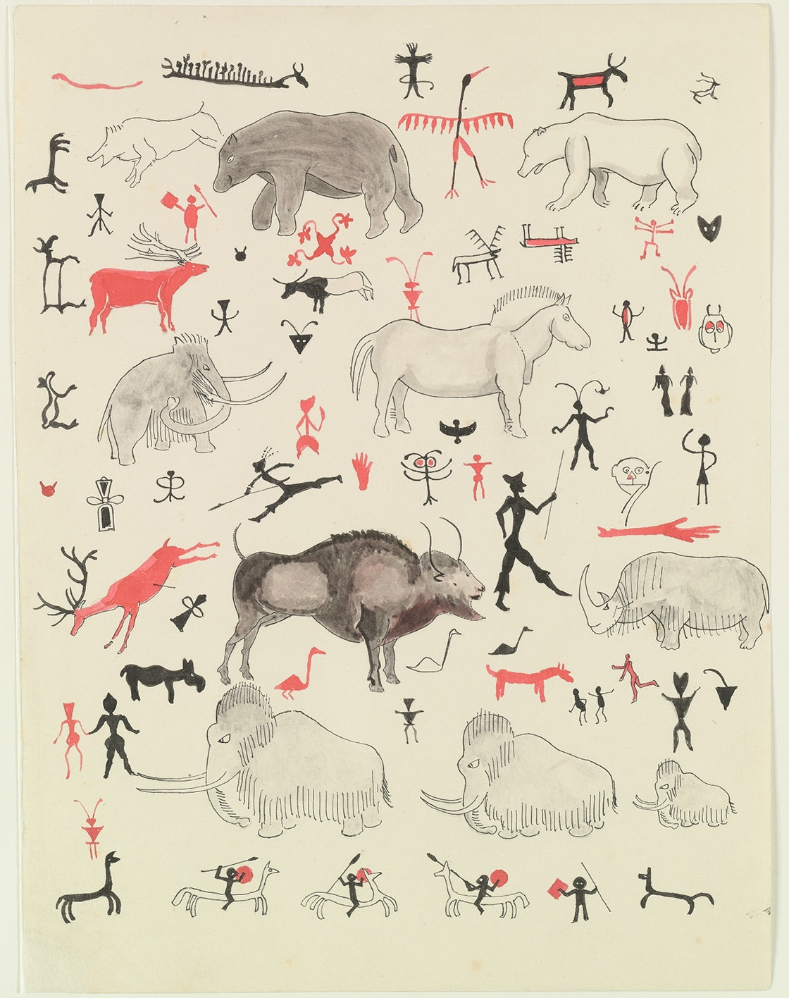 Cave drawings, 1932: 'Polar Bear himself was astonished when I brought light; for the most remarkable thing is that the walls of these caves are all covered with pictures, cut into the rock or painted on in red and brown and black. Some of them are very good (mostly of animals), and some are queer and some bad; and there are many strange marks, signs and scribbles, some of which have a nasty look.' © The Tolkien Estate Ltd, 1976