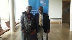 Ademola Adenle (right) and Calestous Juma