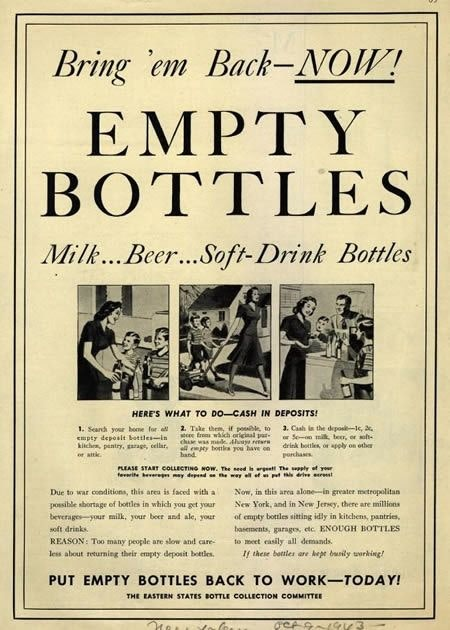 1940s poster: '[there are] ENOUGH BOTTLES to meet easily all demands… if these bottles are kept busily working.'