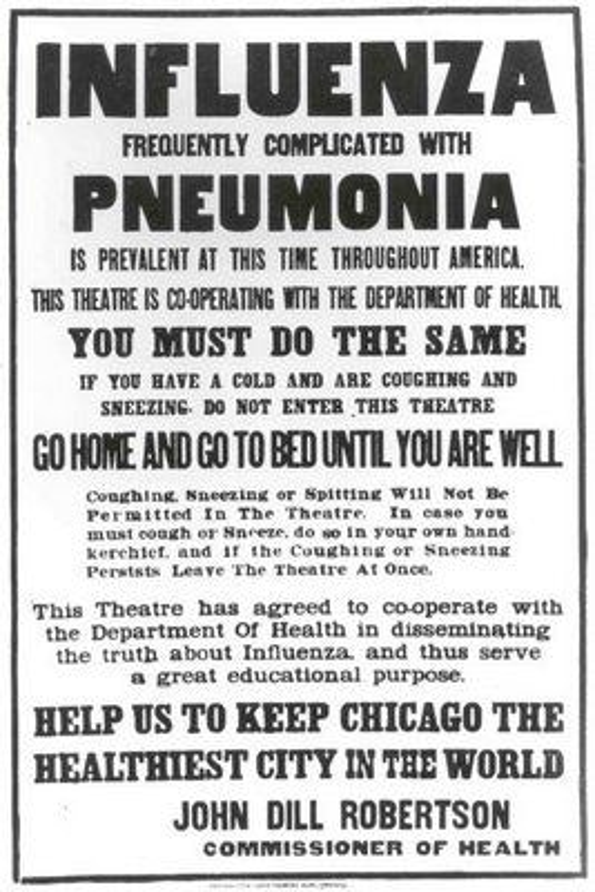 A Chicago Public Health poster outlines flu regulations during the  pandemic. origins.osu.edu