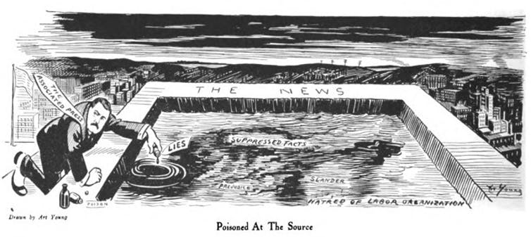 An Art Young cartoon critical of the AP appeared in the July 1913 issue of The Masses.