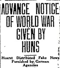 Hearst Fake News Denounced, Tuscon Daily Citizen, December 13, 1918.