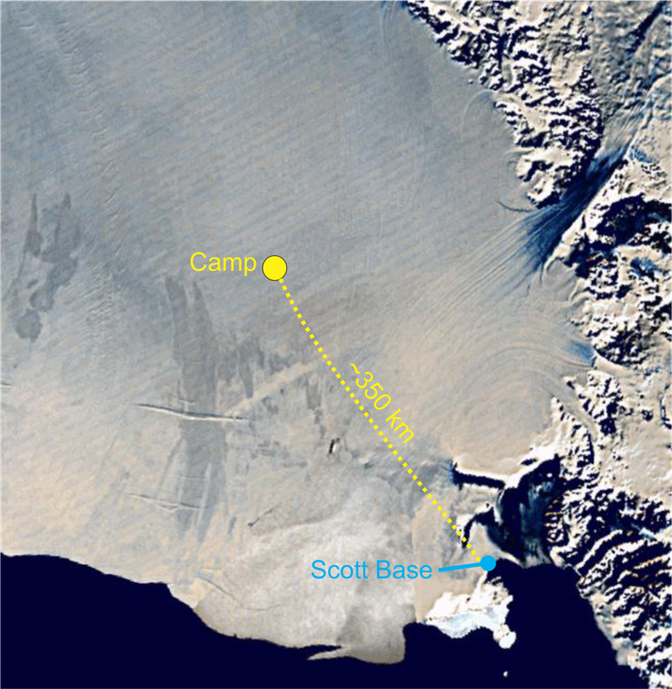 Position of camp on ice shelf.