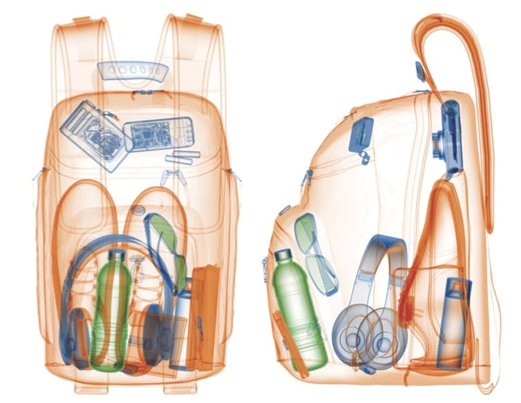 Baggage x-ray of a backpack. Can you identify some of the items inside? www.farlabs.edu.au