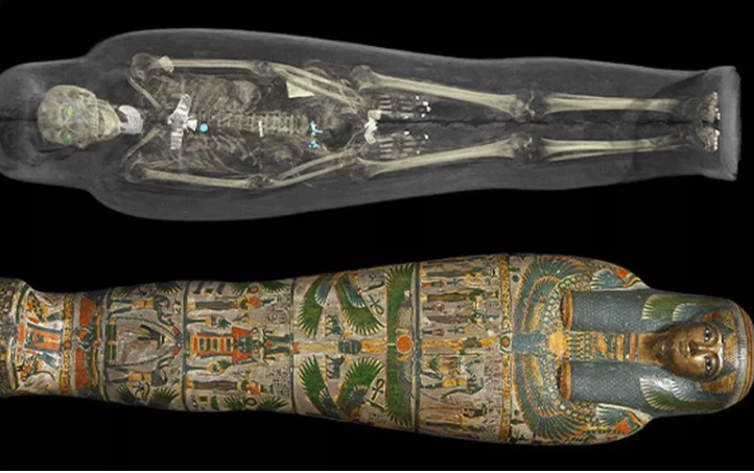 A computed tomography (CT) scan of an ancient Egyptian mummy. - British Museum