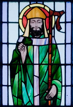 St Patrick stained glass St Benin's Church, County Galway.