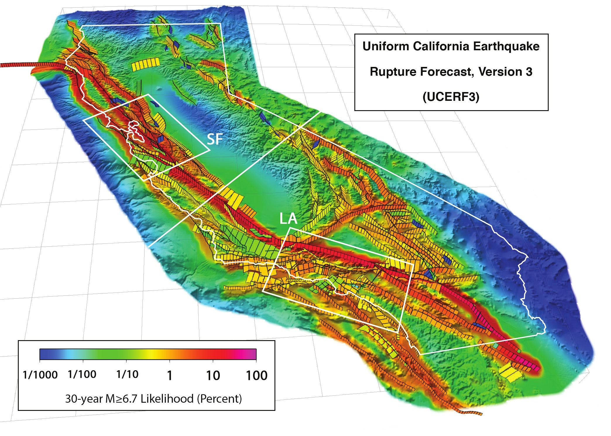 perspective view of california s major faults showing forecast probabilities estimated by the third uniform california earthquake rupture forecast