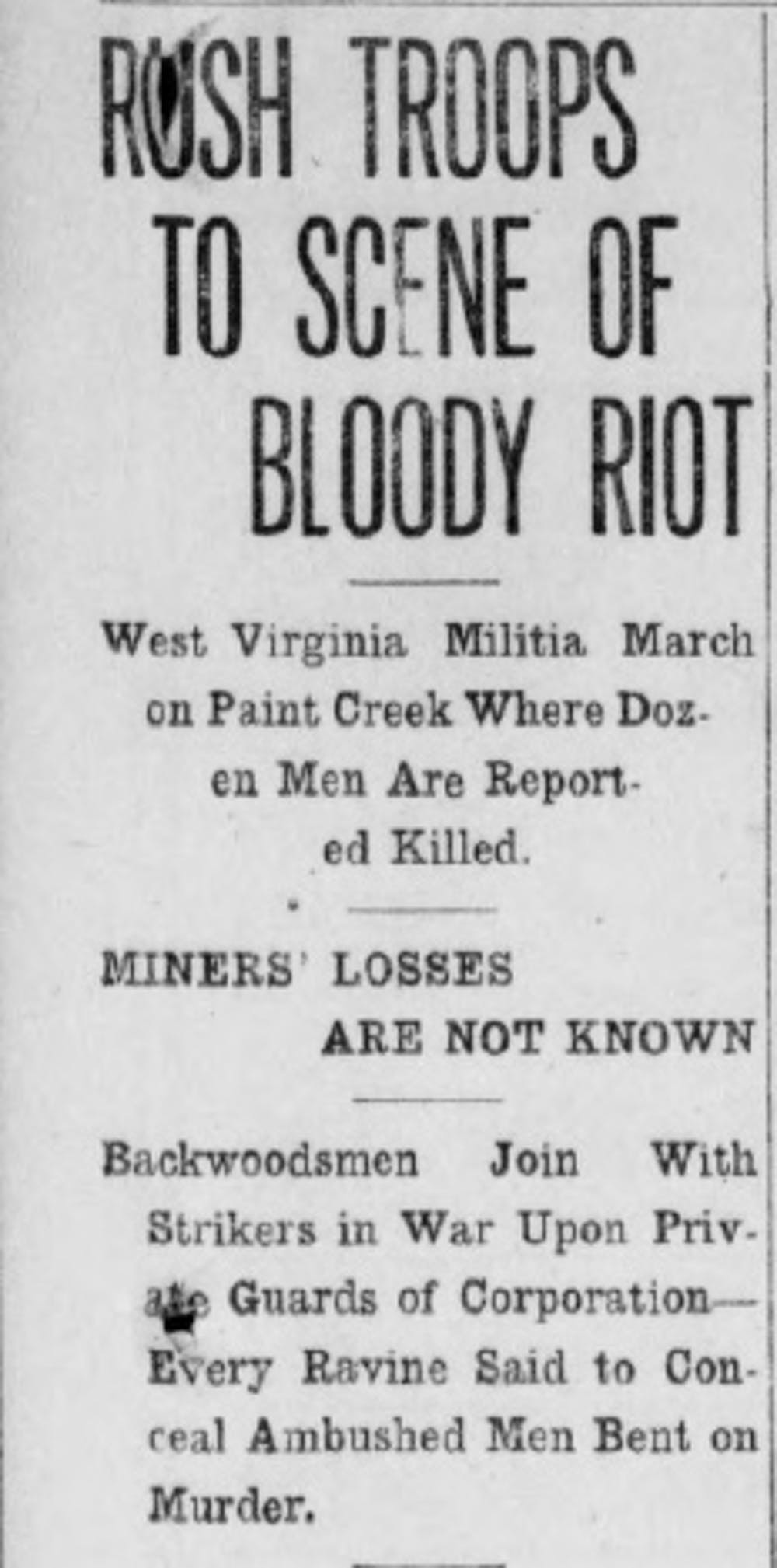 An AP story, later unveiled as fake news, as it appeared in the New Castle News on July 27, 1912.