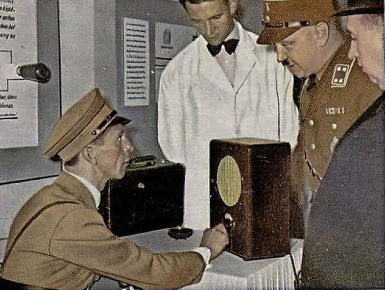 Nazi propaganda minister Goebbels testing the people's radio