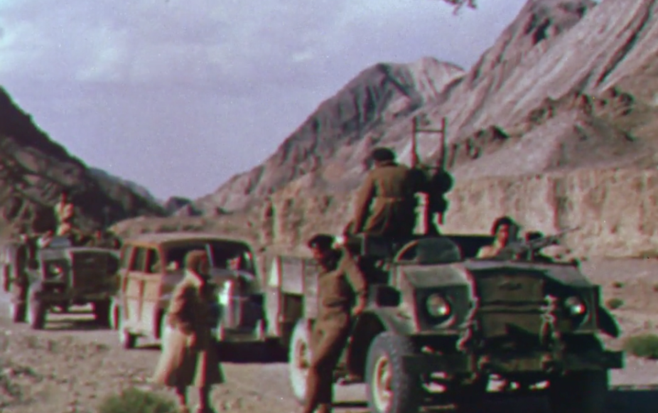 A scene from Sir Clarmont Percival Skrine's film Quetta-Damghan, almost certainly the only colour footage of the Indian Long Range Squadron in action. Courtesy: British Film Institute/Royal Geographical Society