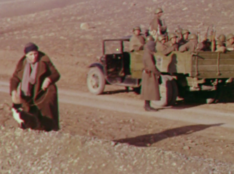 Mrs Skrine walks her cats, with the Red Army behind. As you do. Still from Quetta-Damghan. Courtesy: British Film Institute/Royal Geographical Society