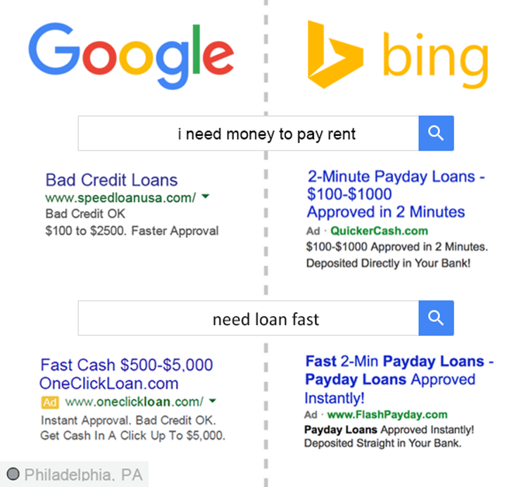 Payday load advertisements. (Upturn, CC BY)