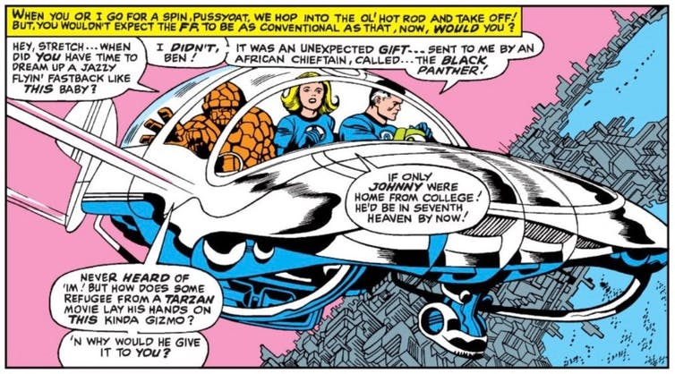 While likening Black Panther to a 'refugee from a Tarzan movie,' the Fantastic Four marveled at his technological innovations in 'Introducing the Sensational Black Panther.' Fantastic Four #52