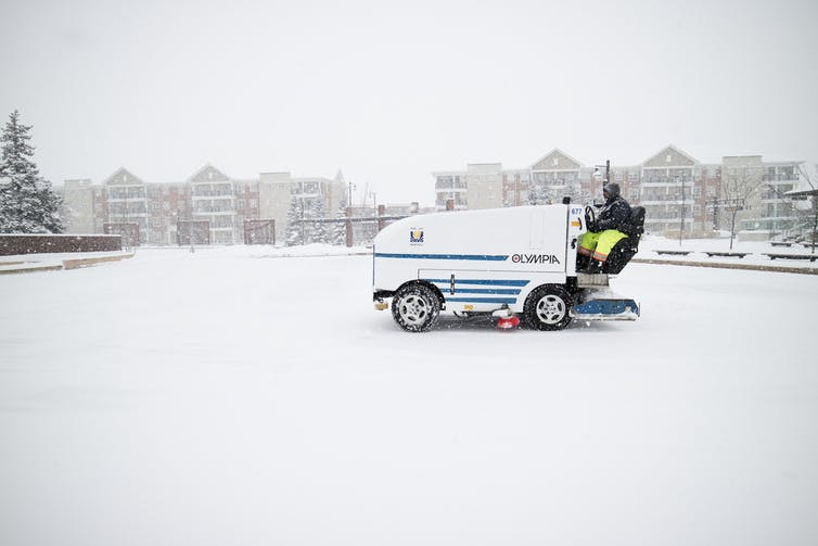 Ice resurfacing machines release particulate matter.