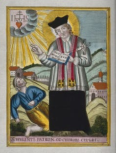 St. Valentine blessing an epileptic.