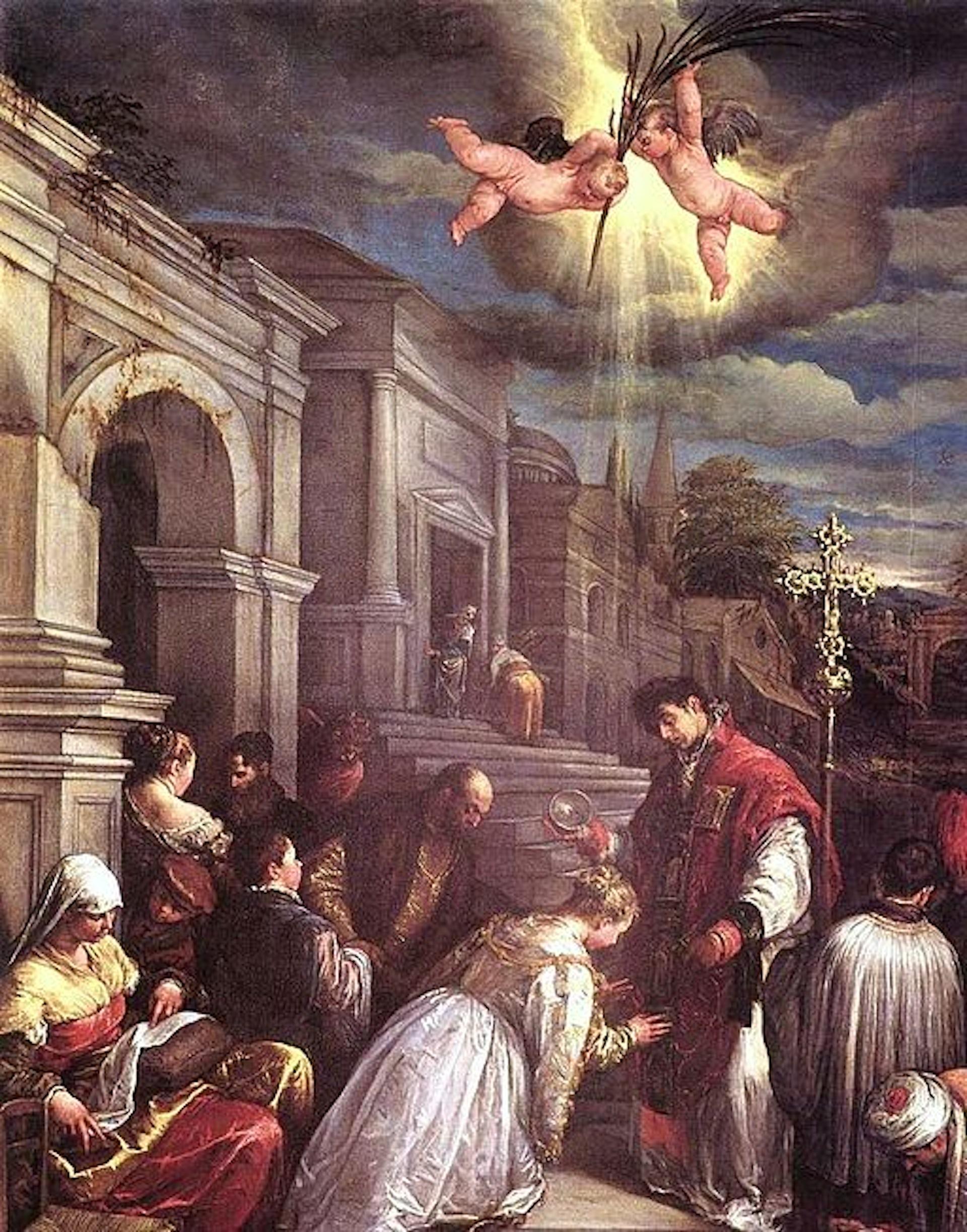 St. Valentine baptizing St. Lucilla. Jacopo Bassano (Jacopo da Ponte)
