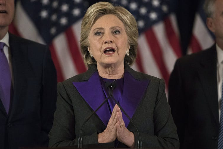 Democratic candidate Hillary Clinton concedes the 2016 presidential election.