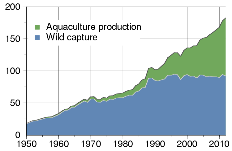Graph about Global total of wild fish capture and aquaculture production (million metric tons).