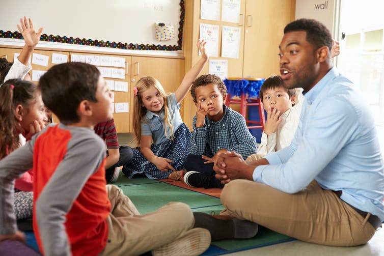 Kids and educator sitting in circle
