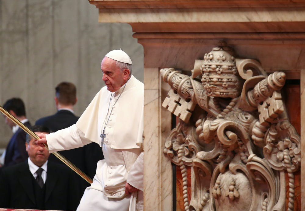 Pope Francis at the Vatican last month: he has said the Devil is a real person. Alessandro Bianchi/Reuters