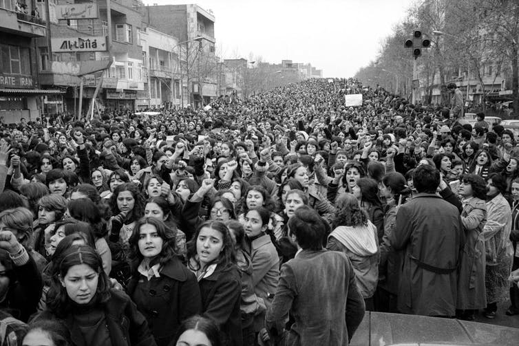 Thousands of Iranian women took to the streets to protest against the hijab law in Tehran in the spring of 1979. A women's movement has recently taken hold in Iran. (Hengameh Golestan)