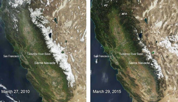 Snow cover in Sierra Nevada