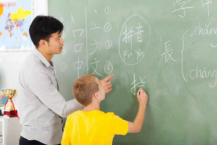 Teacher and student writing chinese cahraters on a blackboard