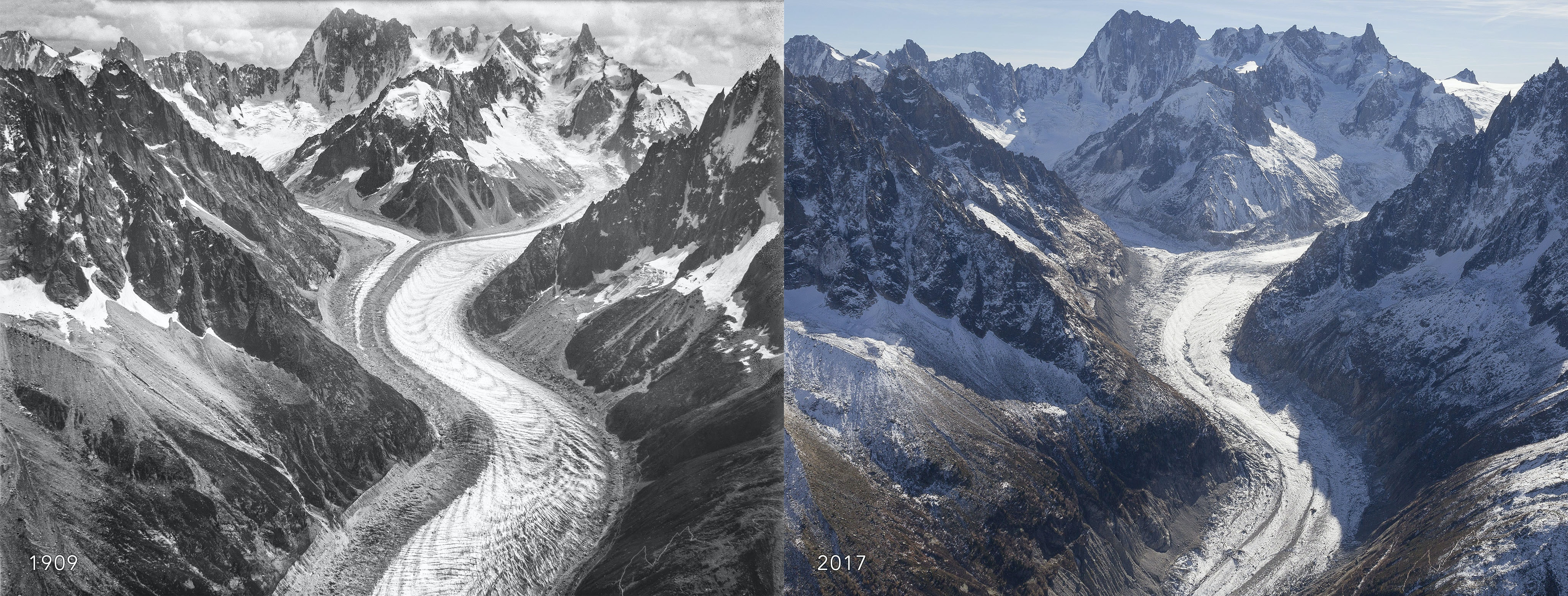 Image result for Climate change is melting the French Alps images