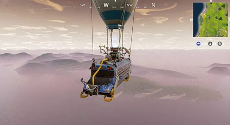 At the beginning of Fortnite's Battle Royale game, players must jump off the airborne battle bus to start their adventure