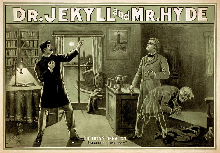 The monstrous Mr Hyde, who 'tramples' a young girl. National Printing & Engraving Company/Wikimedia Commons