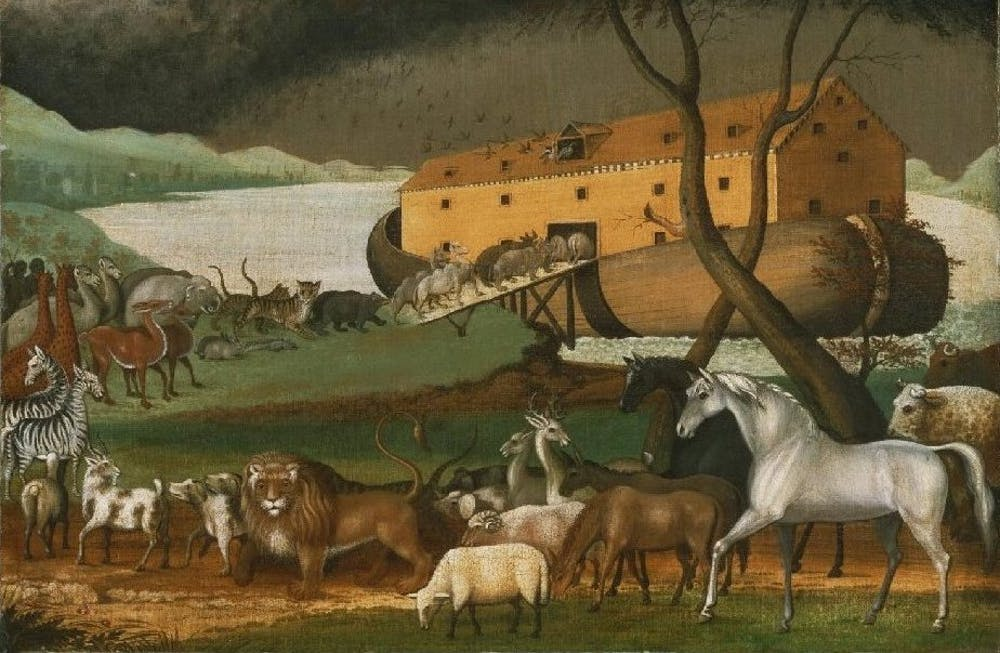 Noah's Ark, oil on canvas painting by Edward Hicks, 1846 Philadelphia Museum of Art. Credit: Wikimedia Commons [Licensed under CC-PD-Mark]