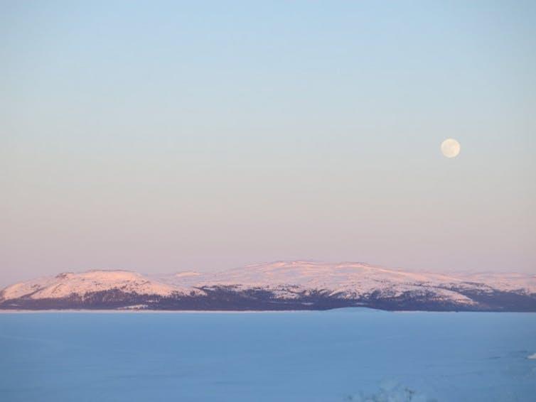 Moonrise near Rigolet, Nunatsiavut, Canada. Credit: Ashlee Cunsolo