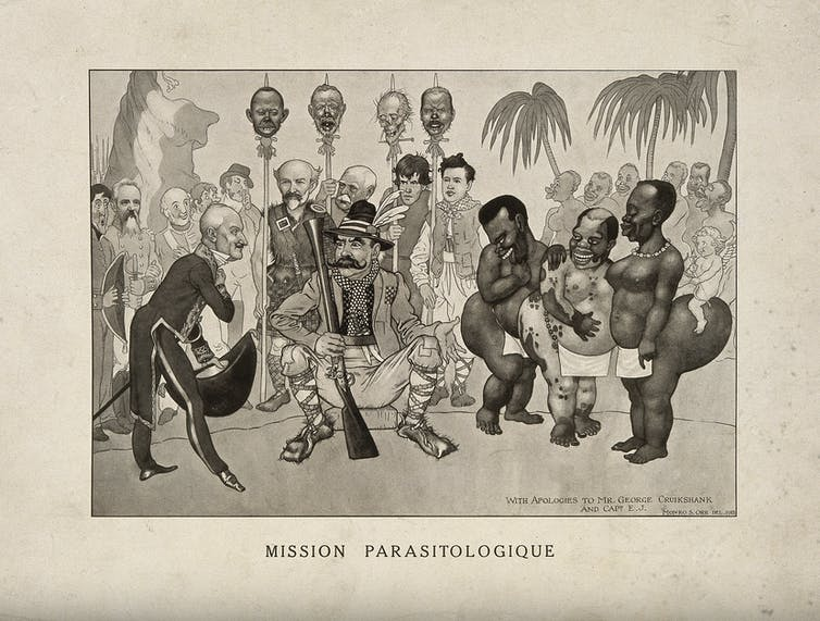 A racist caricature of European scientists visiting Africa. The severed head on the right is that of Ronald Ross. Credit:Wellcome Collection, CC BY