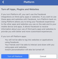 Facebook App Personal Data Privacy Settings
