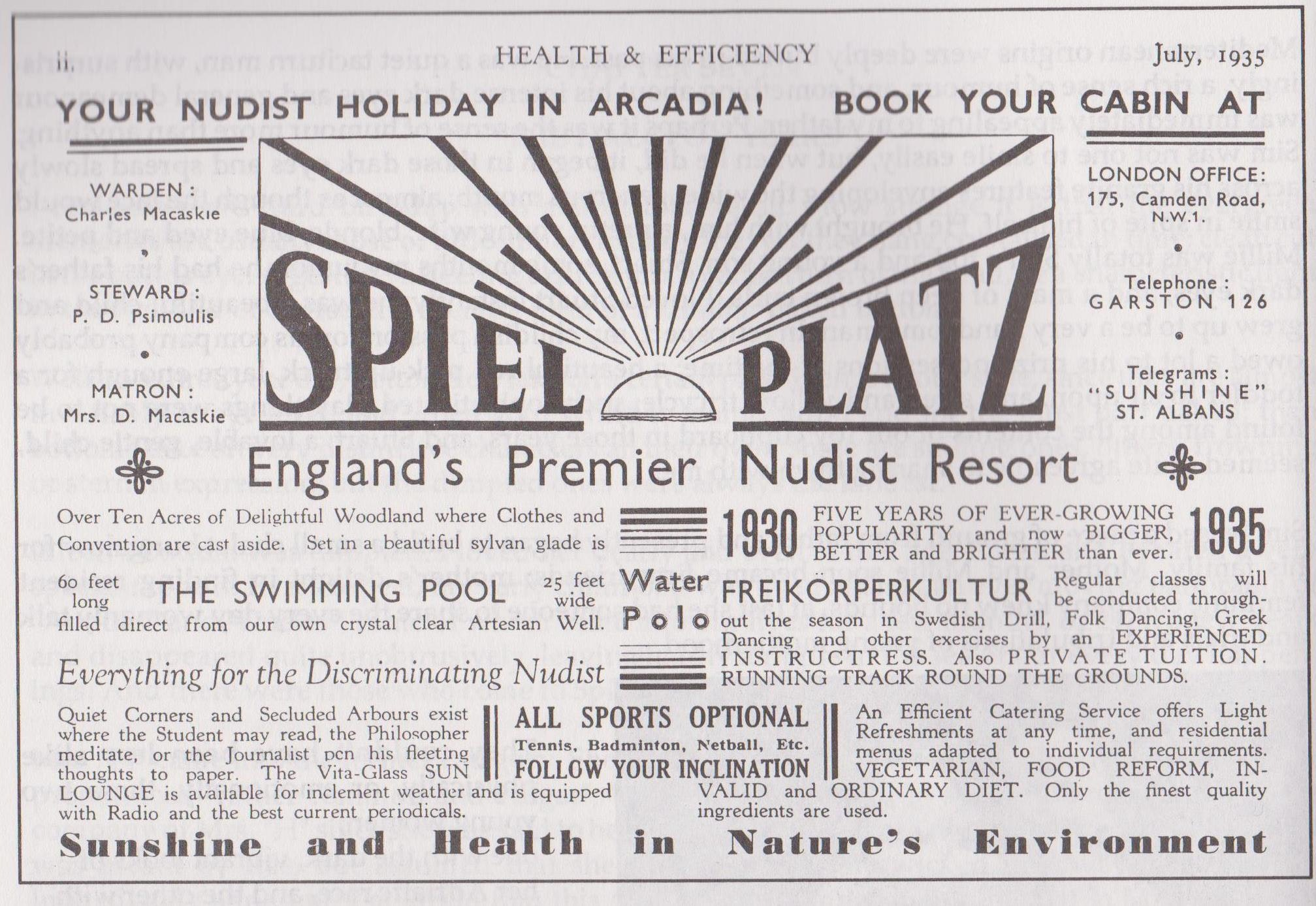 Advertisement for Spielplatz nudist camp, Health and Efficiency magazine, 1935. © H&E naturist magazine/Hawk Editorial Ltd., Author provided