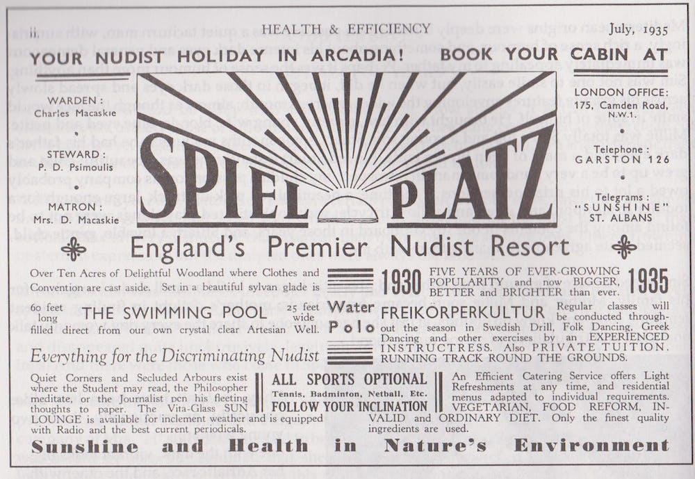 Advertisement for Spielplatz nudist camp, Health and Efficiency magazine, 1935. © H&E naturist magazine/Hawk Editorial Ltd., Author provided